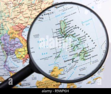 Philippines under magnifier - Stock Photo