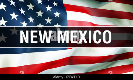 New Mexico state on a USA flag background, 3D rendering. United States of America flag waving in the wind. Proud American Flag Waving, US New Mexico s - Stock Photo