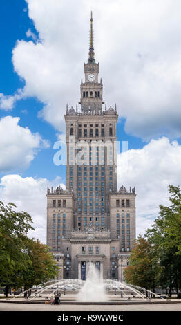 The 1950s Palace of Culture and Science (Pałac Kultury i Nauki or PKiN), a notable landmark in the Polish capital, Warsaw, Poland - Stock Photo