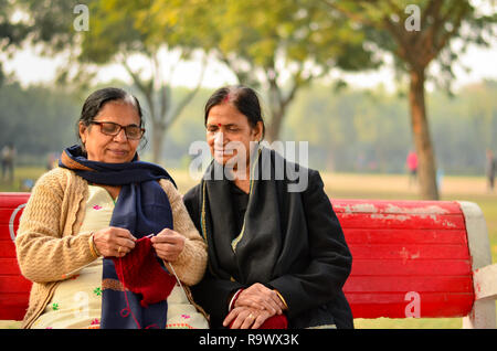 Two senior Indian women discussing how to knit sweaters and smiling in a park in winters in Delhi, India