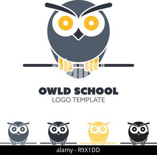 Vector logo template with owl character. Business design element. Wisdom and knowledge symbol. - Stock Photo