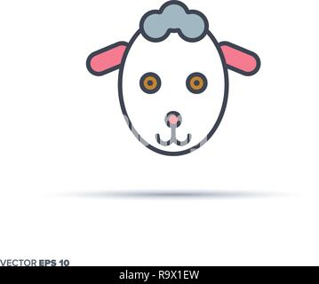 Cute sheep face outline vector icon with color fill. Funny animal illustration. - Stock Photo