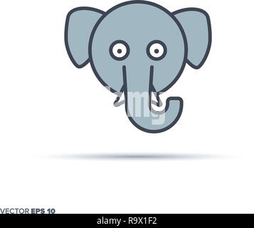 Cute Elephant Face Outline Vector Icon With Color Fill Funny Animal Illustration