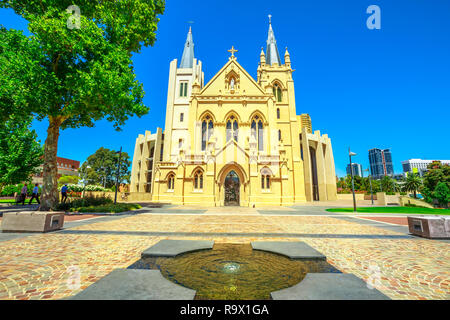 Front view of St Mary's Cathedral in Perth, Western Australia. Cathedral of the Immaculate Conception of the Blessed Virgin Mary with sunny and blue sky. - Stock Photo