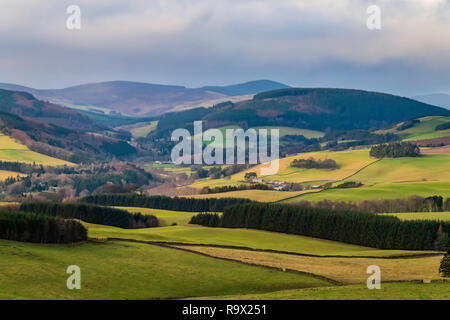 Selkirk, Scottish Borders, UK. 22nd December 2018. The Tweed valley at Yair near Selkirk in the Borders. Yair in Scot's means fish trap. - Stock Photo