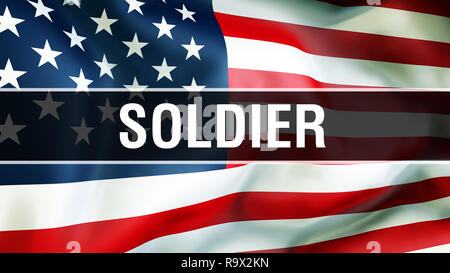 soldier on a USA flag background, 3D rendering. United States of America flag waving in the wind. Proud American Flag Waving, American soldier concept - Stock Photo
