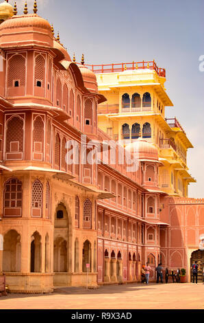 Section of City Palace, which includes the Chandra Mahal and Mubarak Mahal palaces and other buildings, is a palace complex in Jaipur, Rajasthan,India - Stock Photo