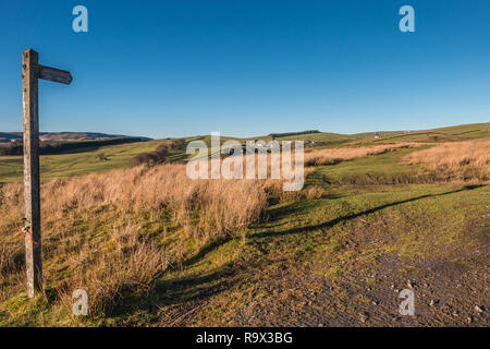 North Pennines AONB Landscape, towards Ettersgill from Ash Hill, Teesdale County Durham UK in strong winter sunshine and a clear blue sky - Stock Photo