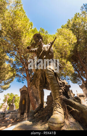 statue of soldier on grave in the Cimetière Saint-Pierre Marseille, South of France, - Stock Photo