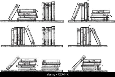 sketch bookshelf. collection standing lying books vector illustration - Stock Photo