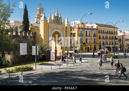 The Macarena Gate, part of the historic city walls, and a working class barrio district in the north eastern region of Seville, Spain. - Stock Photo