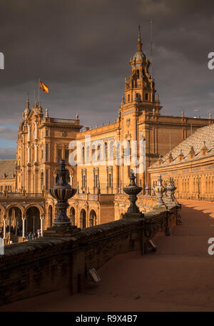 Principal building of Plaza de Espana, built in 1928 for the 1929 Ibero-American Exposition, a landmark example of architecture in Seville, Spain - Stock Photo
