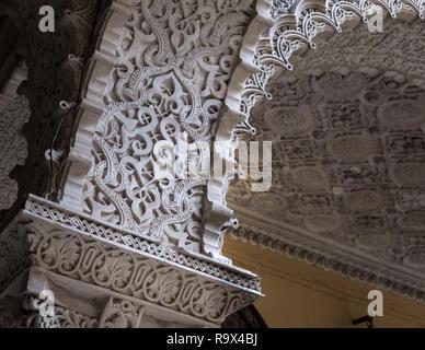 Exhibit inside Palacio de la Condesa de Lebrija, a 15th century mansion with mudejar, roman and Sevillian influences, Seville, Spain - Stock Photo