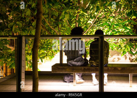 NEW YORK CITY - OCTOBER 21, 2017: Night scene along Highline Park in NYC Manhattan with couple of people relaxing on a bench - Stock Photo