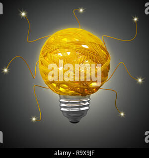 Tangled rope forming a lightbulb on blue background. 3D illustration. - Stock Photo