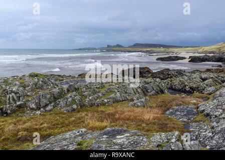 Rocky shore of Saligo Bay, Rhinns of Islay, Inner Hebrides, Argyll & Bute, Scotland - Stock Photo