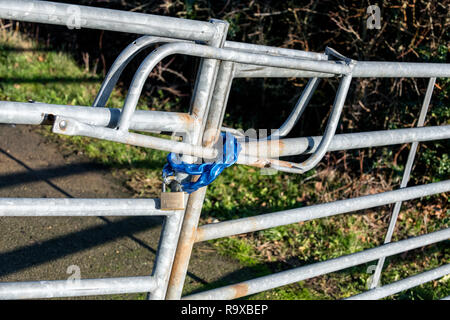 Galvanized metal gates locked with a padlock and plastic protected chain. - Stock Photo