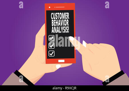 Text sign showing Customer Behavior Analysis. Conceptual photo buying behaviour of consumers who use goods Hu analysis Hands Holding Pointing Touching - Stock Photo