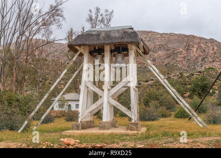 WUPPERTHAL, SOUTH AFRICA, AUGUST 27, 2018: The historic bells in Wupperthal in the Cederberg Mountains of the Western Cape Province - Stock Photo