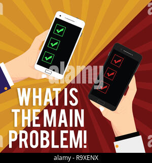 Handwriting text writing What Is The Main Problem. Concept meaning Identify the cause of troubles Repair work Two Hu analysis Hands Each Holding Blank - Stock Photo