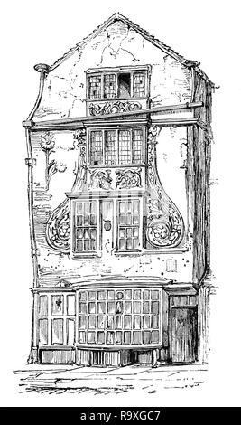 A highly decorative house in early 17th Century Moorfields,  one of the last pieces of open land in the City of London, near the Moorgate.  After the Great Fire of London in 1666, refugees from the fire evacuated there and set up temporary camps there. King Charles II of England encouraged the dispossessed to move on and leave London, but it is unknown how many newly impoverished and displaced persons instead settled in the Moorfields area. In the early 18th century, Moorfields was the site of sporadic open-air markets, shows, and vendors/auctions. - Stock Photo
