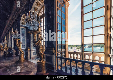 Hall of Mirrors in Versailles palace near Paris, France