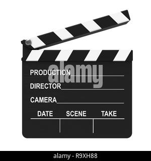 Cinema clap isolated on white background 3D rendering - Stock Photo