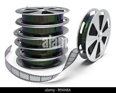 Film reel isolated on white background 3D rendering - Stock Photo
