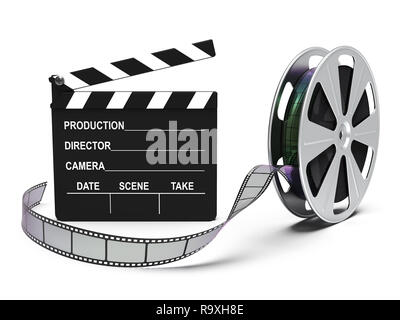 Film reel and cinema clap isolated on white background 3D rendering - Stock Photo