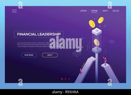 Financial leadership - modern isometric vector website header on purple background with copy space for text. Landing page template with business peopl - Stock Photo