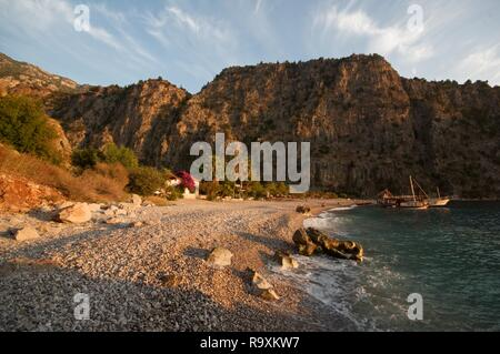 Beach at Butterfly Valley, Turkey - Stock Photo