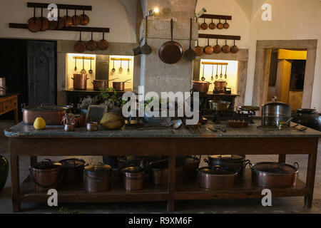Interior of kitchen in the Pena Palace. The palace is a UNESCO World Heritage Site and one of the Seven Wonders of Portugal - Stock Photo