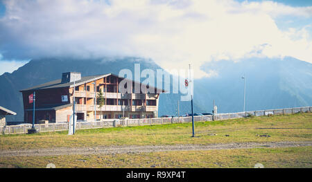 Saint Lary Soulan, France - August 20, 2018: mountain chalet in summer at the bottom of the slopes in a ski resort without snow - Stock Photo