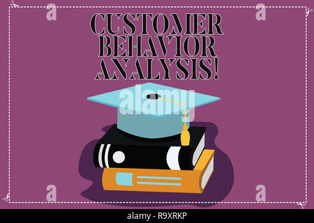 Text sign showing Customer Behavior Analysis. Conceptual photo buying behaviour of consumers who use goods Color Graduation Hat with Tassel 3D Academi - Stock Photo
