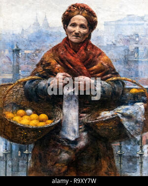 Jewish Woman Selling Oranges by Aleksander Gierymski (1850-1901), oil on canvas, c.1881 - Stock Photo