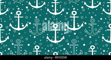 Vector white anchors repeat seamless pattern with stars and circles on green background. - Stock Photo