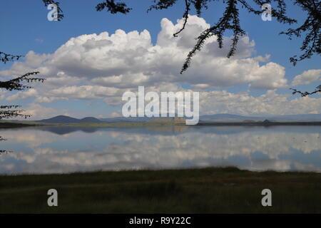 Lake Elmenteita in the Great Rift Valley in Kenya - Stock Photo
