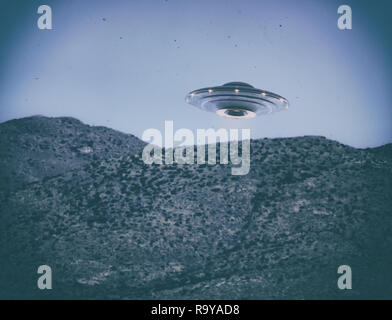 Unidentified flying object UFO. Old style photo with high ISO noise and dirt with scratches over time. Clipping path included. - Stock Photo
