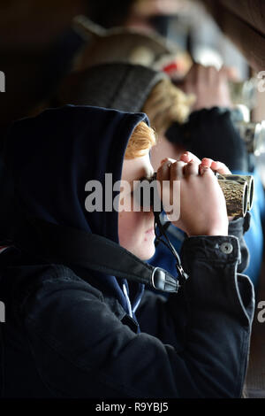 Young people bird watching in Rye Harbour nature reserve, East Sussex, UK - Stock Photo