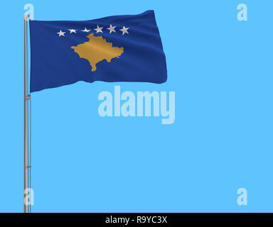 Isolate flag of Kosovo on a flagpole fluttering in the wind on a blue background, 3d rendering - Stock Photo