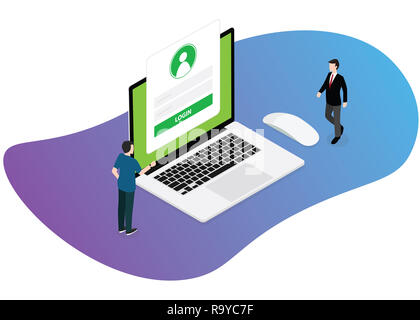 login technology website two business man standing near laptop with form vector illustration - Stock Photo