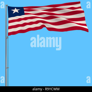 Isolate flag of Liberia on a flagpole fluttering in the wind on a blue background, 3d rendering - Stock Photo
