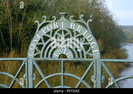 Detail of Coalport Bridge, an early-19th century iron bridge over the River Severn in Shropshire, UK - Stock Photo