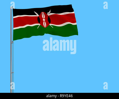 Isolate flag of Kenya on a flagpole fluttering in the wind on a blue background, 3d rendering - Stock Photo