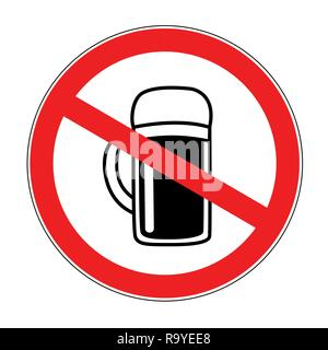 no alcohol forbidden sign with beer isolated on white background vector illustration - Stock Photo