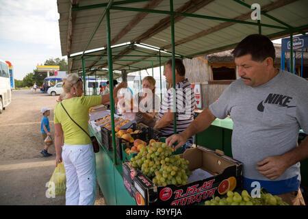30.08.2016, Olanesti, Rajon Stefan Voda, Republik Moldau - Verkauf von Obst an einer Tankstelle in der Naehe zur ukrainischen Grenze. 00A160830D317CAR - Stock Photo