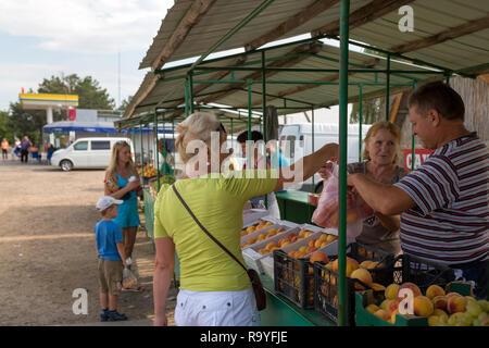 30.08.2016, Olanesti, Rajon Stefan Voda, Republik Moldau - Verkauf von Obst an einer Tankstelle in der Naehe zur ukrainischen Grenze. 00A160830D319CAR - Stock Photo