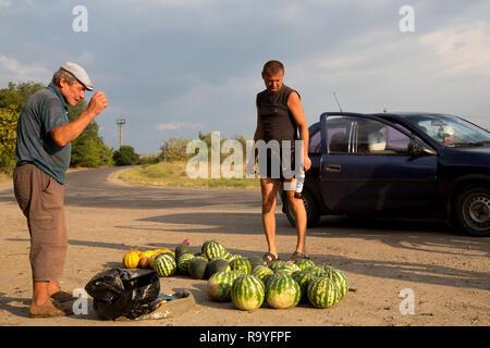 30.08.2016, Causeni, Rajon Causeni, Republik Moldau - Bauer verkauft Melonen an der Landstrasse. 00A160830D448CARO.JPG [MODEL RELEASE: NO, PROPERTY RE - Stock Photo