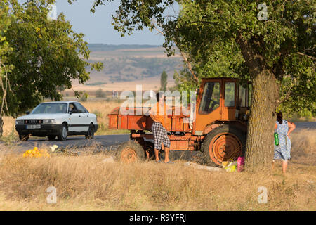 30.08.2016, Causeni, Rajon Causeni, Republik Moldau - Bauern verkaufen Melonen an der Landstrasse. 00A160830D463CARO.JPG [MODEL RELEASE: NO, PROPERTY  - Stock Photo