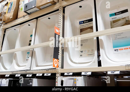 Miami Florida The Home Depot inside hardware big box store do it yourself shopping display sale bath tubs - Stock Photo